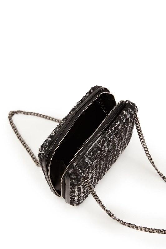Kumaş Desenli Çanta (Siyah)