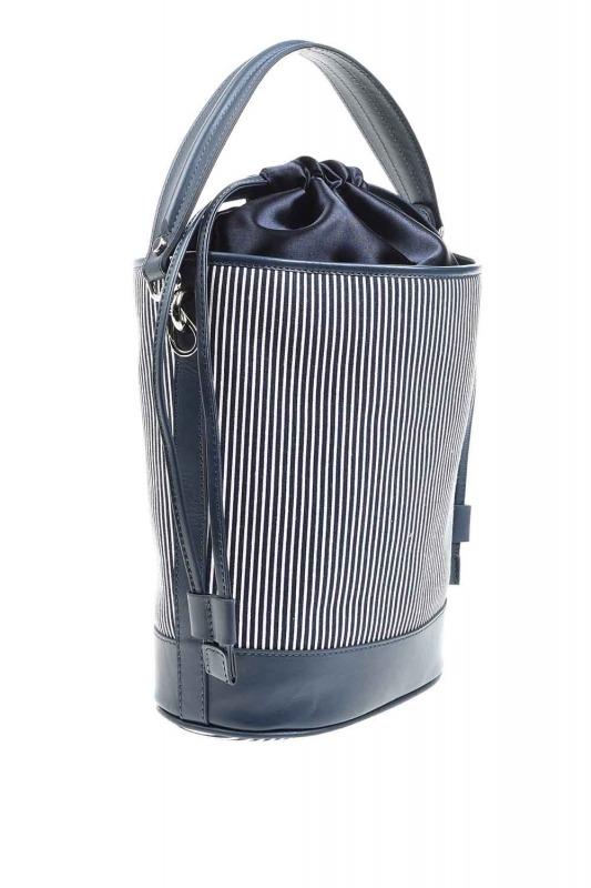 حقيبة كتف مزخرفة بالنسيج (كحلي)