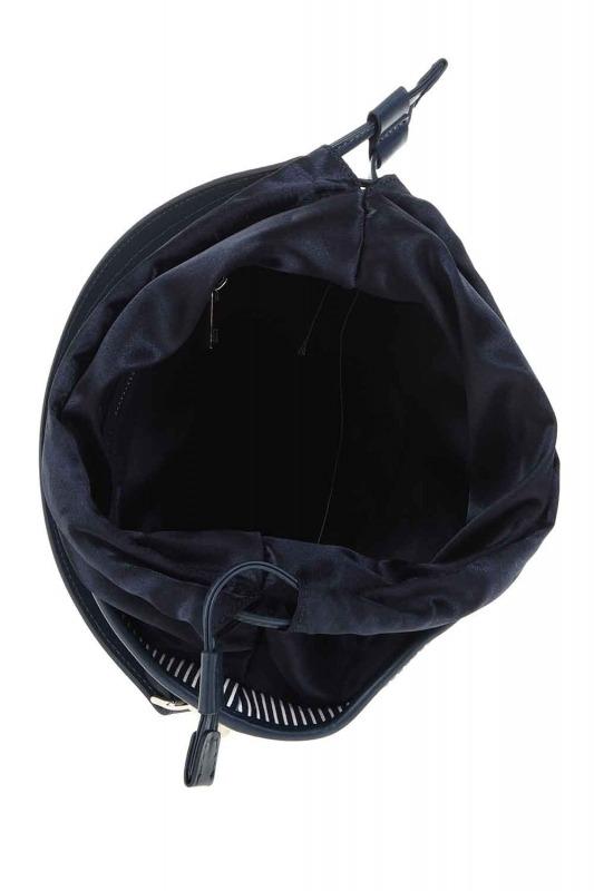 Kumaş Garnili Omuz Çantası (Lacivert)