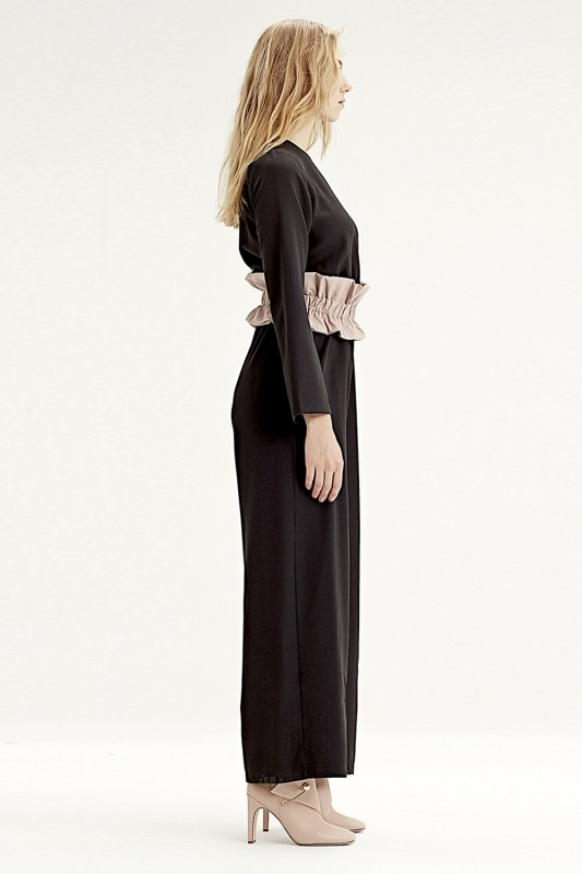 Fabric-Belt Detailed Jumpsuit (Black)