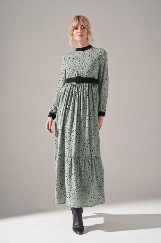 Kumaş Kemerli Desenli Elbise (Mint)