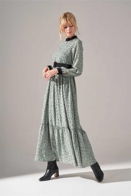 Kumaş Kemerli Desenli Elbise (Mint) - Thumbnail