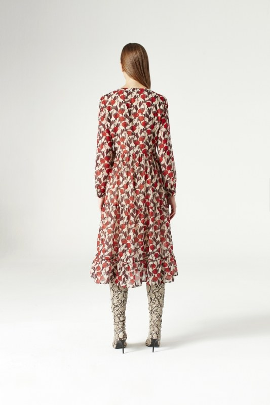 فستان منقوش ( بيج )