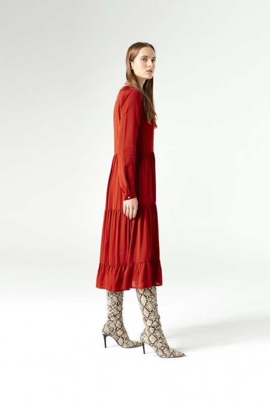Bird Eye Detailed Dress (Brick Red)