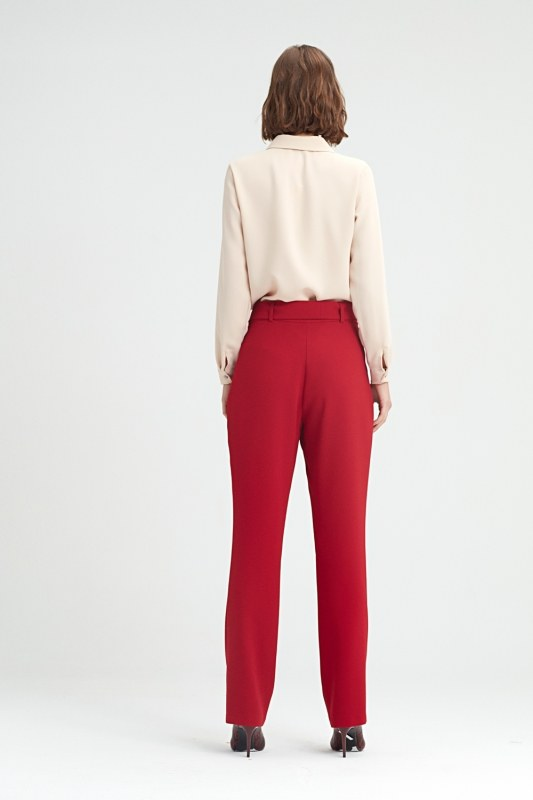 Belt Detailed Trousers (Claret Red)