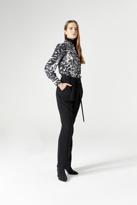 Kuşak Detaylı Pantolon (Siyah)