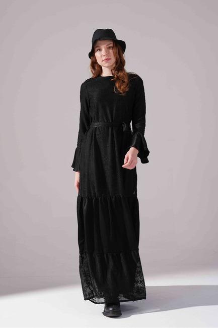 Kuşaklı Elbise (Siyah) - Thumbnail