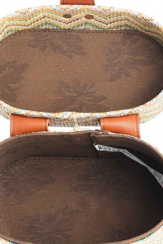 Kutu Tipi Desenli Hasır El Çantası (Bej)