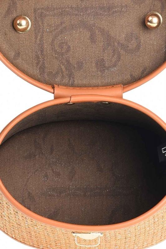 Kutu Tipi Hasır El Çantası (Bej)