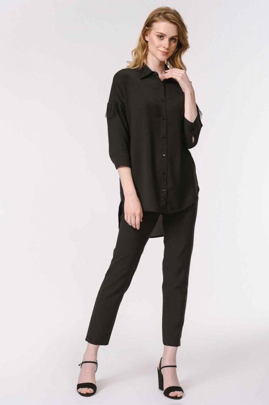 قميص بلوزة مفصلة بالدانتيل (أسود)
