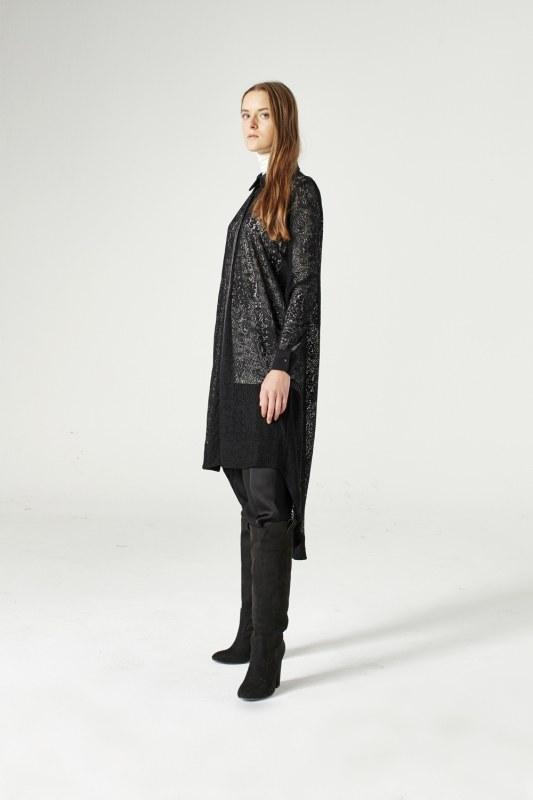 فستان تونيك بحزام من الدانتيل (أسود)