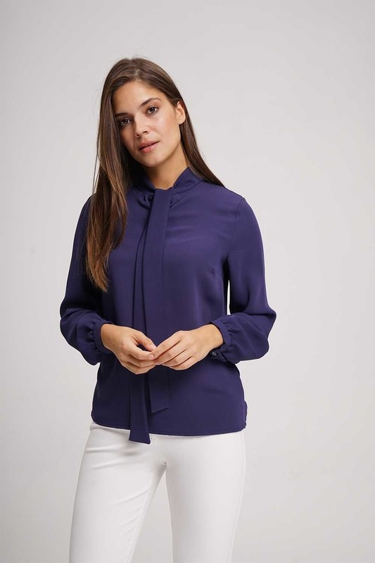 Halter-Neck Blouse (Navy Blue)