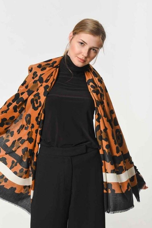 Leopard Patterned Striped Shawl (Mix)