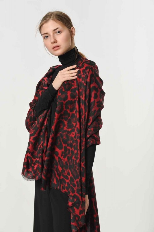 Leopard Patterned Shawl (Claret Red)