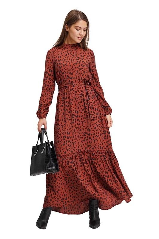 Leopar Desenli Uzun Elbise (Bordo)