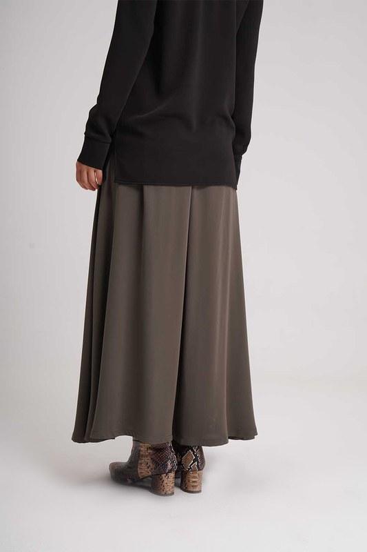 Long Flare Skirt (Khaki)