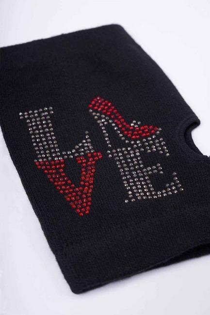 Love Yazılı Kesik Eldiven (Siyah) - Thumbnail