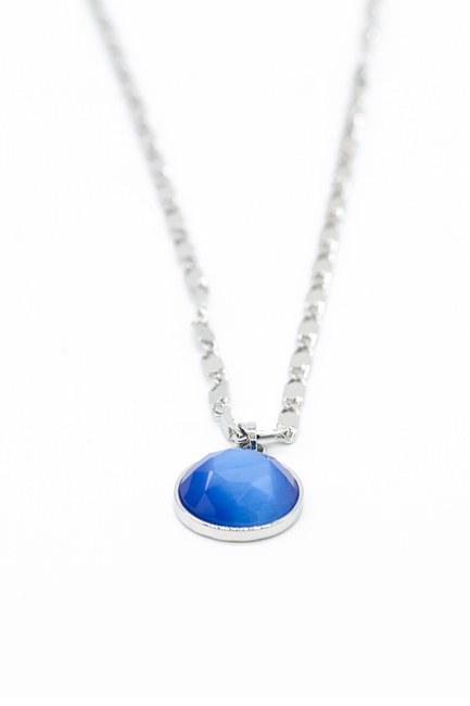 Mavi Taşlı Zincir Kolye (Gri) - Thumbnail