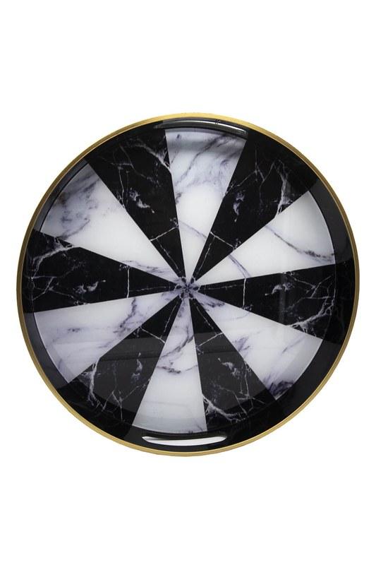 Mermer Yuvarlak Tepsi (Siyah/Beyaz)
