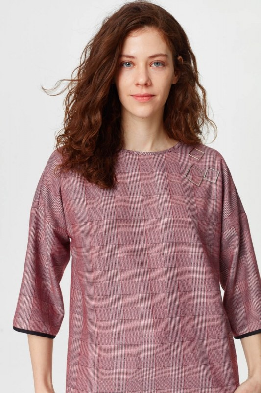 Metallic Detailed Plaid Blouse (Claret Red)