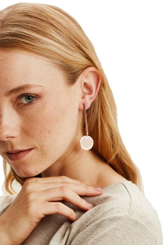 Metal Flake Pendant Earrings (Rose)