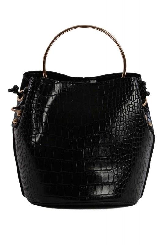 حقيبة الكتف مع مقبض معدني (أسود)
