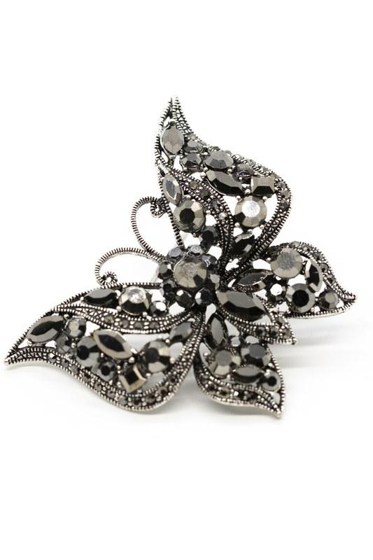 Metalik Kelebek Broş (Siyah)