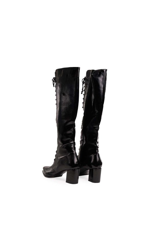 أحذية طويلة متعددة الأشرطة (أسود)