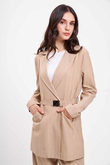 Nakış Çizgili Ceket (Bej) - Thumbnail