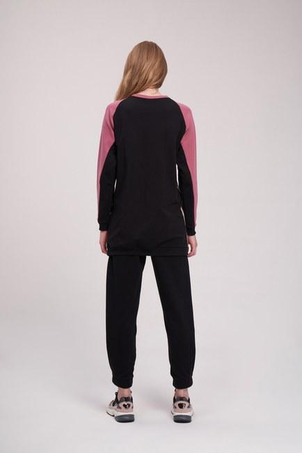 Nakışlı Parçalı Sweatshirt (Bej) - Thumbnail