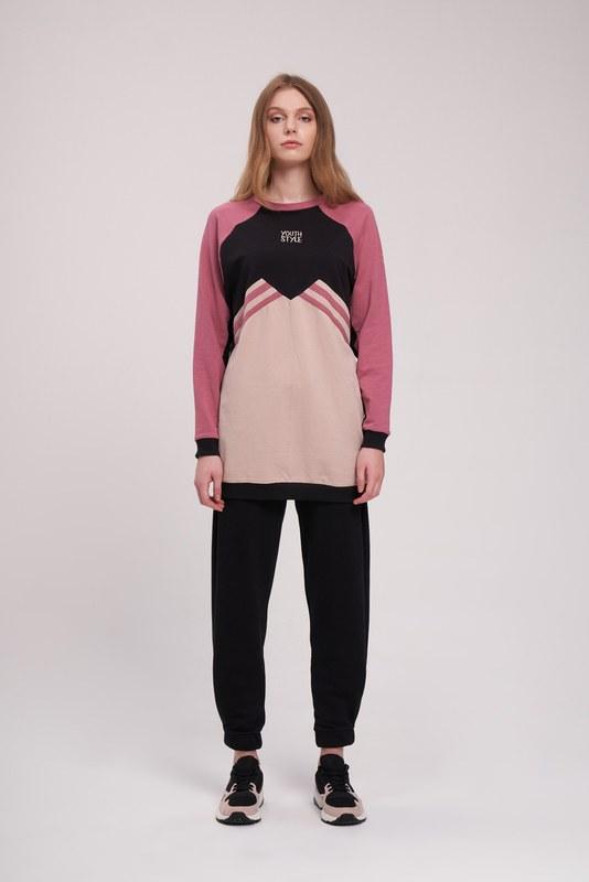 Nakışlı Parçalı Sweatshirt (Bej)