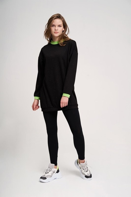 Neon Ribbed Sweatshirt (Black)