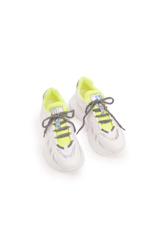 Neon Şeritli Spor Ayakkabı (Beyaz)
