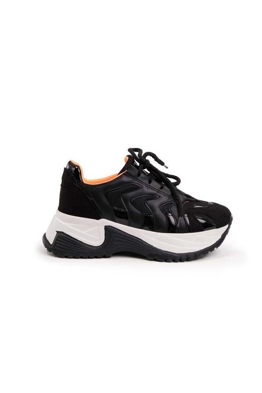 حذاء رياضي بشريط نيون (أسود)