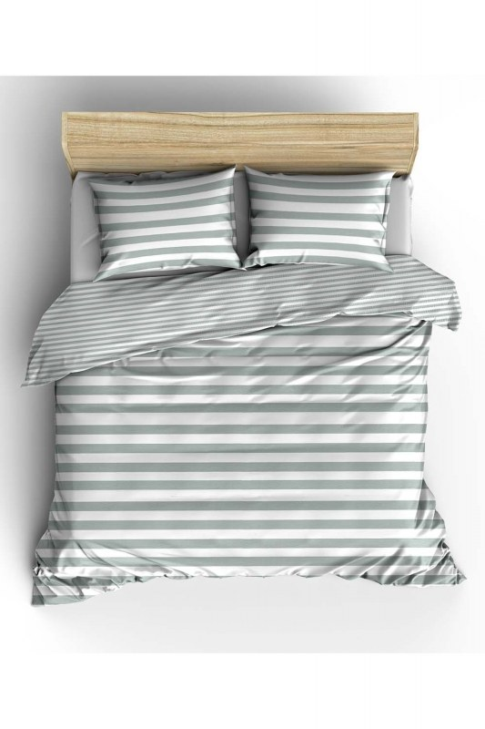 Double Grey Striped Linens Set (200X220)