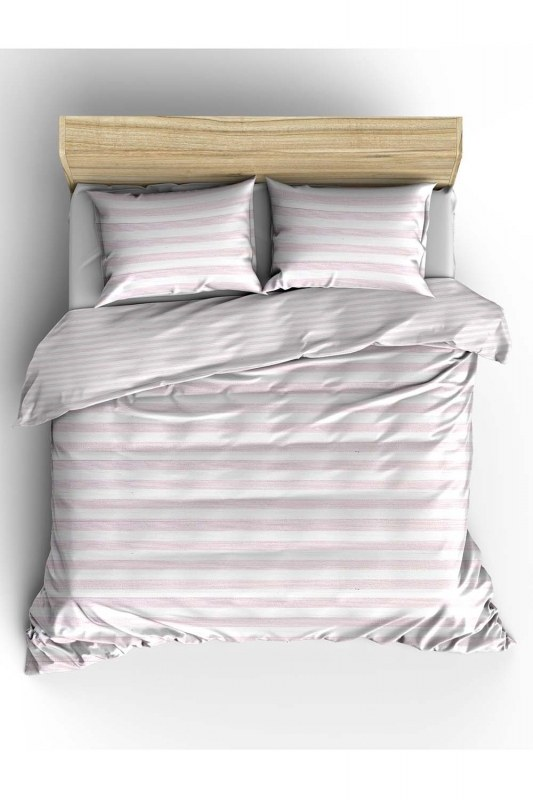 Double Pink Striped Linens Set (240X220)