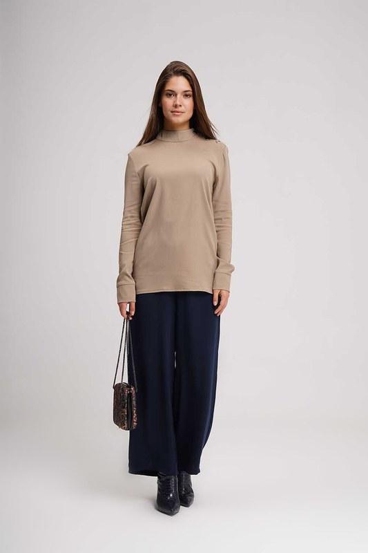 Omuzu Düğmeli Tunik Bluz (Bej)