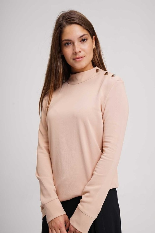 Shoulder Button Tunic Blouse (Powder)