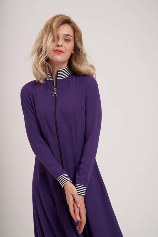 Önden Fermuar Ve Ribana Detaylı Elbise (Mor)