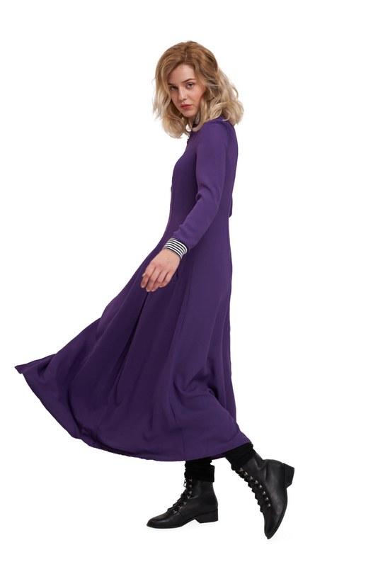 Front Zipper Detailed Dress (Purple)