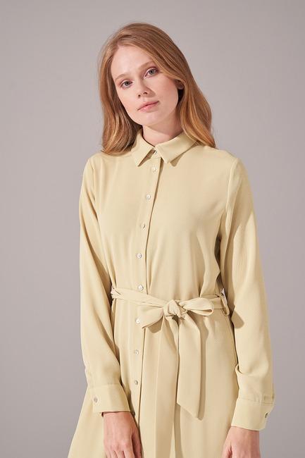 Önden Tam Düğmeli Krep Elbise (F. Yeşili) - Thumbnail