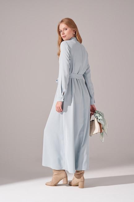 Önden Tam Düğmeli Krep Elbise (Mint) - Thumbnail