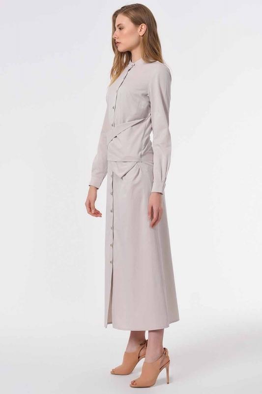 فستان بوبلين مع ربطات أمامية (بيج)