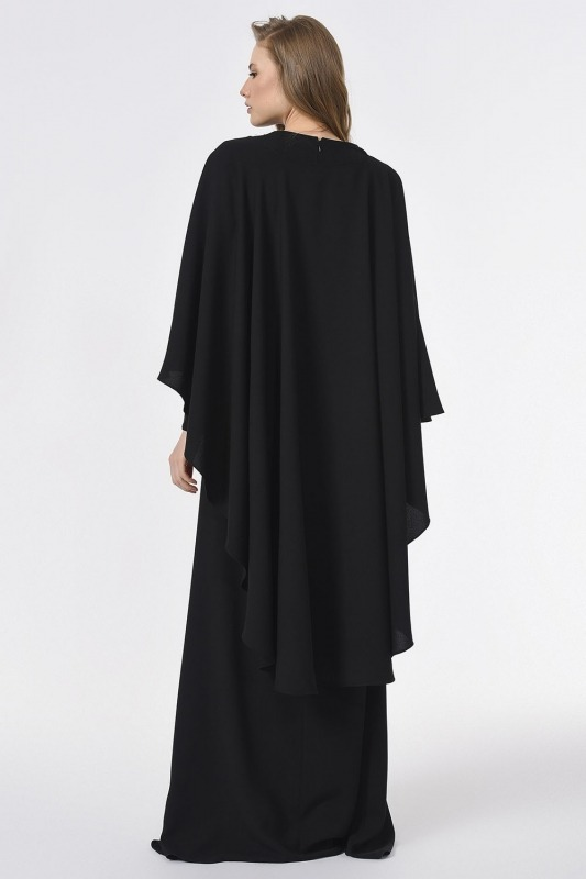 Önü Biye Detaylı Tasarım Elbise (Siyah)