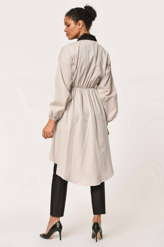 Front Fitted Tunic Shirt (Beige)