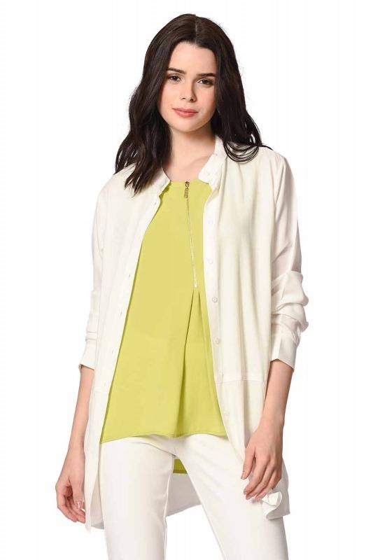 Front Zippered Sleeveless Blouse (Green)