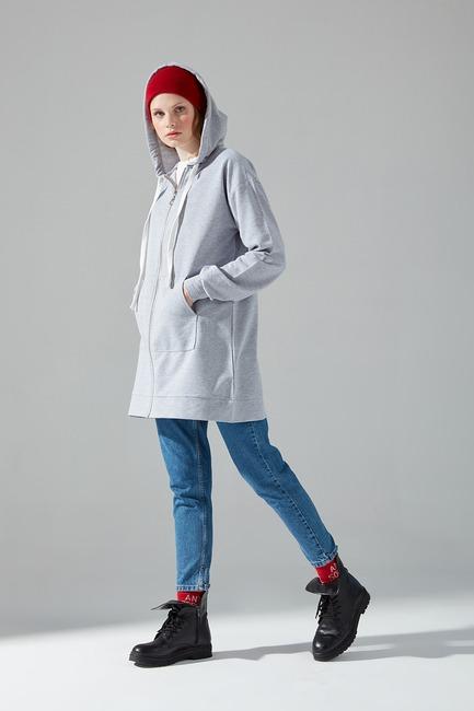 Önü Fermuarlı Sweatshirt (Gri) - Thumbnail