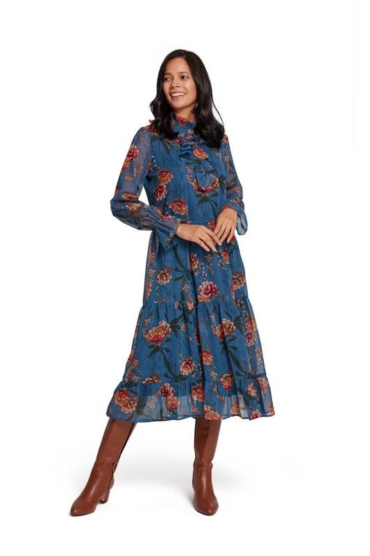 فستان زهري مزركش (أزرق)