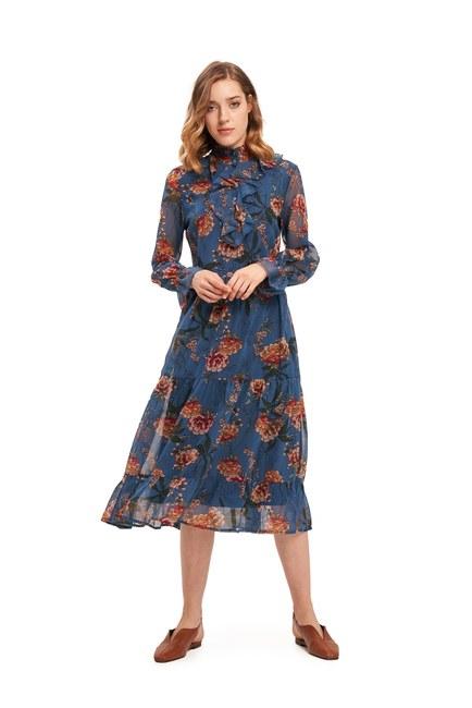 Önü Fırfırlı Çiçekli Elbise (Mavi) - Thumbnail