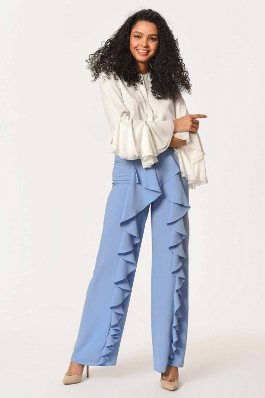 Front Frilly Pants (Blue)